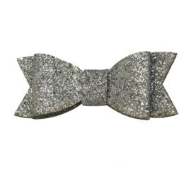 Haarspeld met glitter strik - zilver