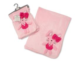 Dekentje baby - Roze met konijntje