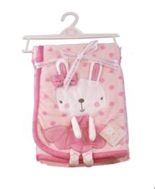 Baby dekentje - Soft ballerina bunny pinkdot