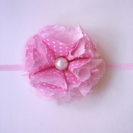 Haarbandje stof Maby's - Bloem (8cm) Roze met stippeltjes
