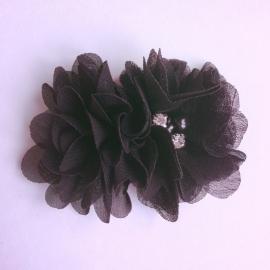 Haarclip - Zwart met 2 bloemen
