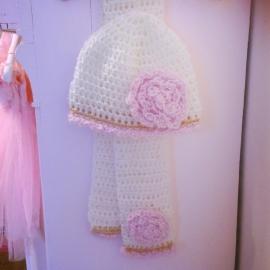 Winterset meisje Maby's - Muts en sjaal (wit/roze)