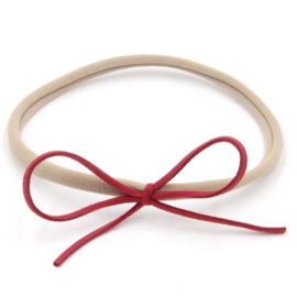 Nylon haarbandje met strikje - Rood