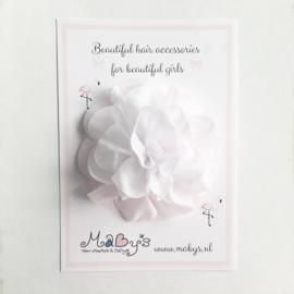 Haarspeld meisje met bloem - 10 cm wit