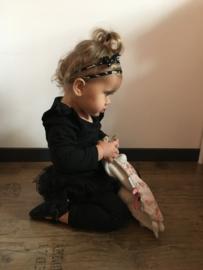 Strik haarbandje baby - Zwart en bruin gevlekt