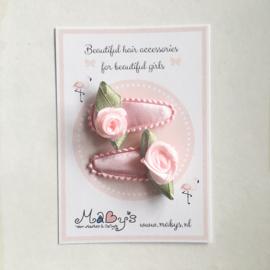 Baby haarspeldjes met roosje - roze