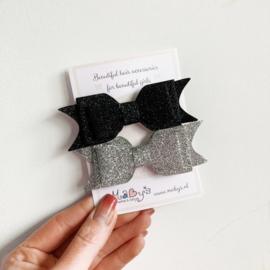 Set van 2 haarstrikken - zwart en zilver