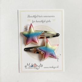 Haarspeldjes met sterretje - glitter regenboog
