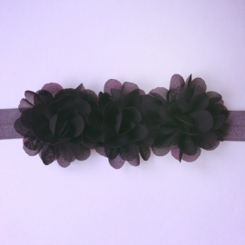 Haarbandje baby meisje - 3 bloemetjes zwart