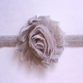 Haarbandje glitter zilver - roos 6 cm grijs