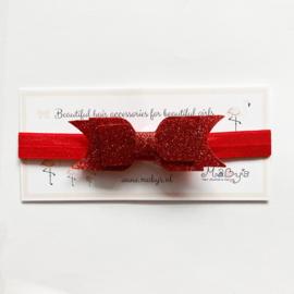 Haarbandje met glitter strik - rood