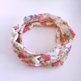 Knoop haarband met bloemenprint - Creme