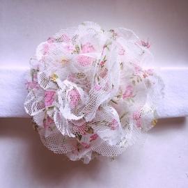 Haarbandje baby meisje stof - Bloem (10cm) bloemenmotiefje