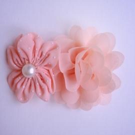 Haarclip - Zalmroze met 2 bloemen