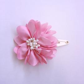 Haarspeldje klik klak met bloemetje - donkerroze