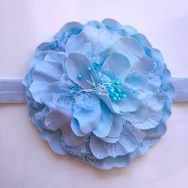 Haarbandje baby meisje - Bloem (12 cm) blauw