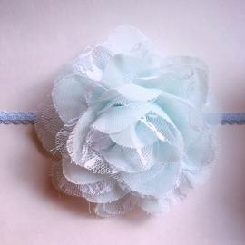 Haarbandje baby meisje - Bloem (10cm) zachtblauw