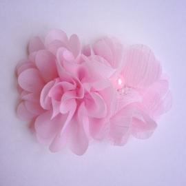 Haarclip - Lichtroze met 2 bloemen