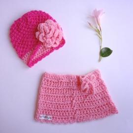 Winterset meisje Maby's - Muts en rok (roze)