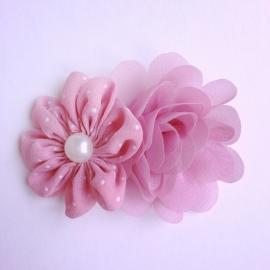 Haarclip - Roze met 2 bloemen