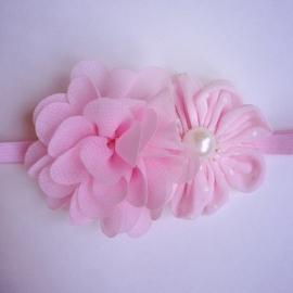 Haarbandje baby meisje - 2 bloemen lichtroze