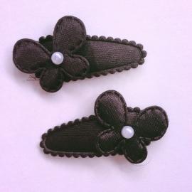 Set van 2 baby haarspeldjes - Zwart met parelvlindertje