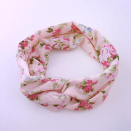 Knoop haarbandje met bloemenprint - roze