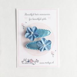 Baby haarspeldjes met bloemetjes - blauw