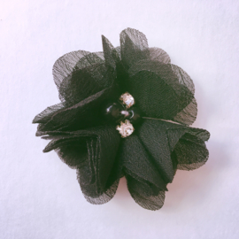 Haarspeldje meisje - Parelbloemetje 5 cm zwart