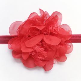 Rode haarband baby en meisje - Bloem 10 cm