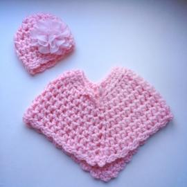 Winterset meisje Maby's - Muts en poncho (roze)