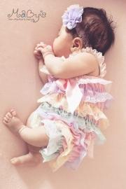 Newborn meisjes romper met haarbandje - ruffels 4 kleuren