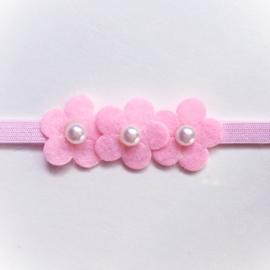 Newborn baby haarbandje met bloemetjes - Roze