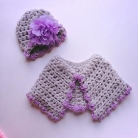 Winterset meisje Maby's - Muts en poncho (grijs/paars)