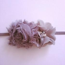 Haarbandje baby meisje - 2 bloemetjes grijs