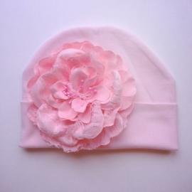 Babymuts - Roze met bloem
