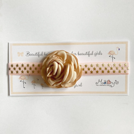 Haarbandje met sterretjes roze - bloemetje kaki