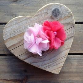 Haarclip - Fuchsia en roze met parelbloem