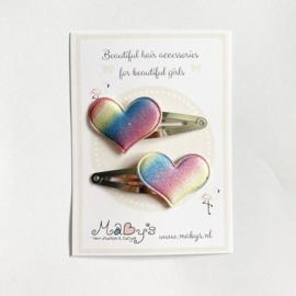 Haarspeldjes met hartje - glitter regenboog