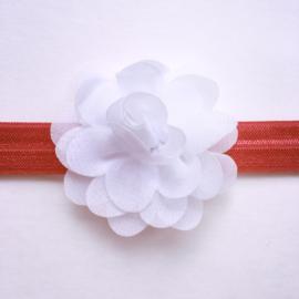 Haarbandje kerstmis met bloemetje - Rood met wit