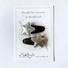 Set van 2 baby haarspeldjes - Zwart met zilver sterretje