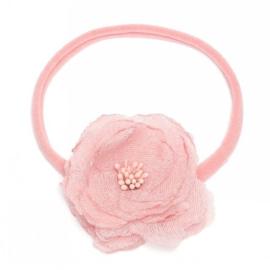 Newborn baby haarbandje met chique bloem - roze