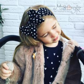 Strik haarband baby meisje - Zwart met witte polkadots