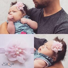 Haarbandje baby meisje - Parelbloemetje lichtroze