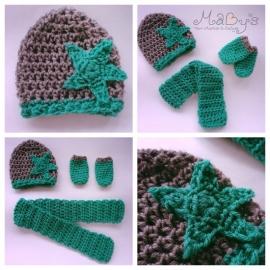 Winterset jongen Maby's - Muts, sjaal en wanten met ster (donkergroen/grijs)