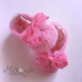 Gehaakte babyslofjes - Roze met strikje (haarclip)