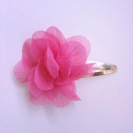 Haarspeldje klik klak met bloemetje - fuchsia