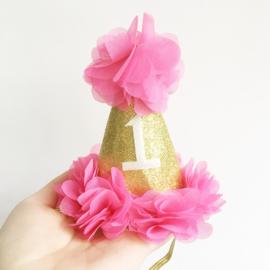 Haarbandje eerste verjaardag - fuchsia/goud