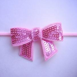 Haarbandje newborn baby - Roze met glitterstrikje