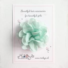 Haarspeld meisje met bloem - 10 cm mintgroen